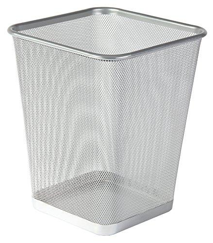 Osco WBSQ25-SLV Mesh Square Waste Bin - Silver (Square)