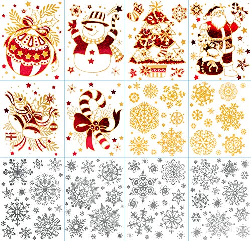 Glass Thanksgiving (12 Sheet Christmas Window Clings Decal Wall Stickers Snowflakes Winter Wonderland Decorations Ornaments Decorative Santa Claus Snowman Xmas Tree for Holiday Party Thanksgiving Home Snow Supplies)