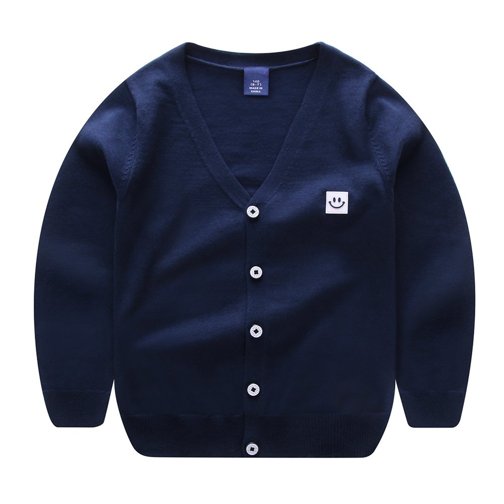 ALLAIBB Little Boys Sweater Cardigan Solid Colors Knitted Outwear Size 100 (Canglan)