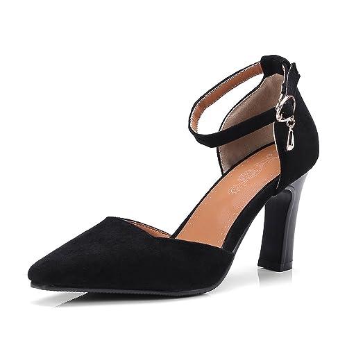 a0bd0d751b8ac OALEEN Escarpins Femme Bride Cheville Suède Talon Haut Bloc Chaussures  Sandales Soirée Noire 32