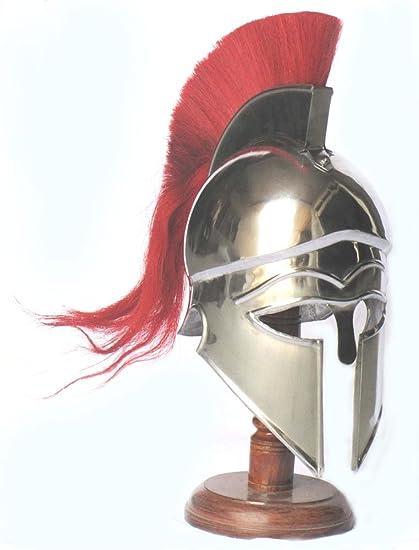 4fde63c92 Amazon.com: Medieval Greek Corinthian Armour Helmet with Red Plume Knight Spartan  Helmet Replica: Sports & Outdoors