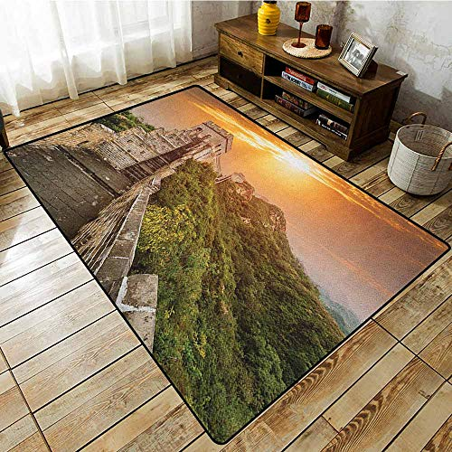 Custom Rug,Great Wall of China,The Magnificent Heritage of World Background Brick Borders Picture,Anti-Slip Doormat Footpad Machine Washable,6'6