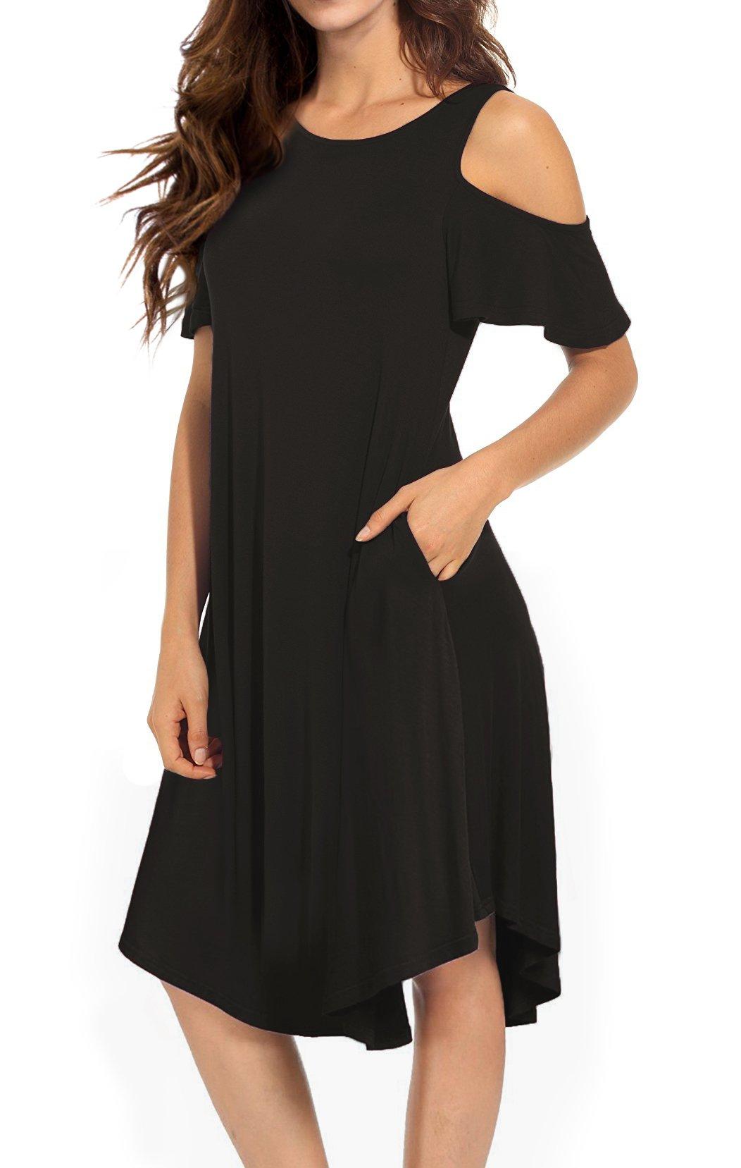 VERABENDI Women's Casual Cold Shoulder Midi Dress Short Sleeve Swing Dress with Pockets Coffee XL