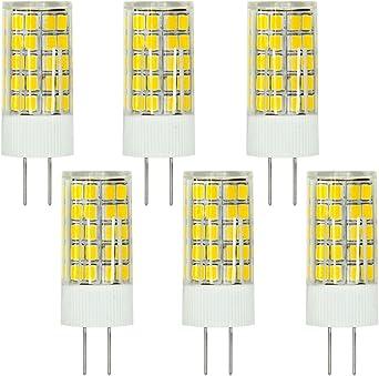 MENGS® Pack de 6 Bombilla lámpara LED 6 Watt G4, 63x2835 SMD, Blanco Cálido 3000K, ACDC 12V