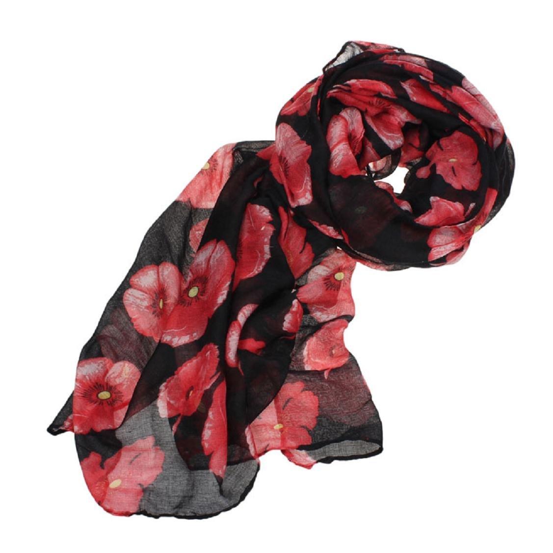 Kolylong/® New Red Poppy Print Langer Schal Blumen-Strand-Wrap