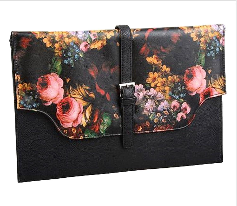 2Chique Boutique Women's Flower Mosaic Black Clutch