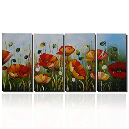 Amazon Framed Modern Abstract Painting Poppy Flower Paintings