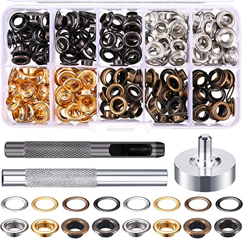 Bememo 1/4 Inch Grommet Kit 200 Sets Grommets Eyelets with 3 Pieces Install Tool Kit (4 Colors)