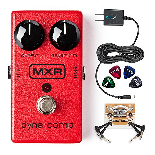 Dyna Comp Compressor - MXR M102 Dyna Comp Compressor Pedal Bundle with Blucoil Slim 9V 670ma Power Supply AC Adapter, 2-Pack of Blucoil Pedal Patch Cables and 4-Pack of Celluloid Guitar Picks