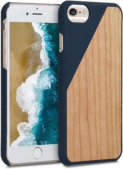 kwmobile Coque Compatible avec Apple iPhone 6 / 6S - Housse de Protection Rigide pour Télephone en Bois Bois Bicolore Bleu foncé-Marron