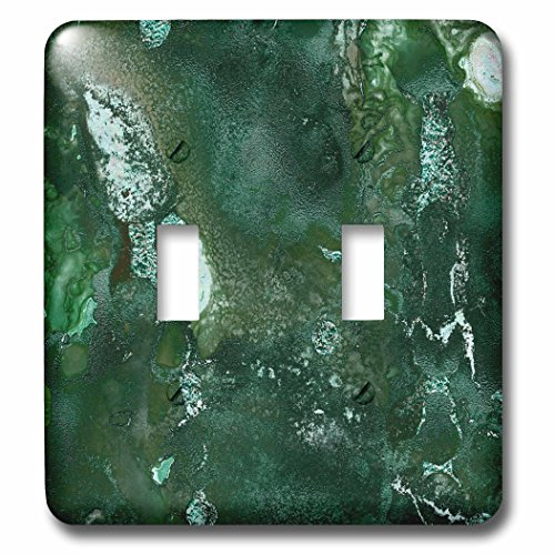 3dRose Uta Naumann Luxury Gemstone Marble Background - Malachite Green and Silver Blush Gemstone Ink Marble - Light Switch Covers - double toggle switch (lsp_265465_2)