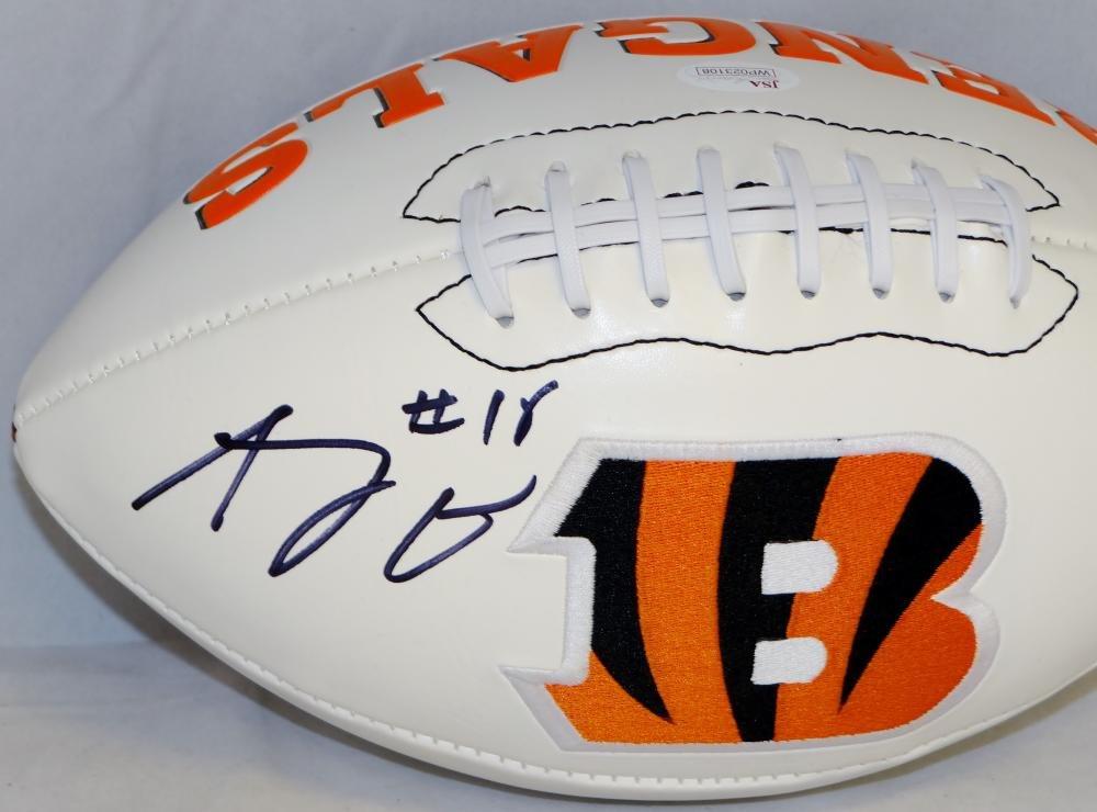 A.J. Green Autographed Cincinnati Bengals Logo Football JSA Witnessed Auth