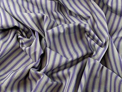 Ticking Stripe Woven Cotton Canvas Upholstery Fabric Lavender - per metre (Woven Ticking)