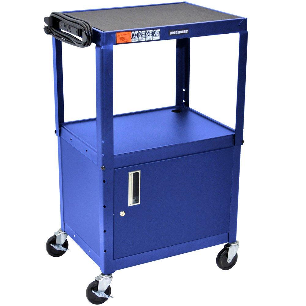 Luxor / H. Wilson AVJ42C-RB Blue Steel Adjustable AV Cart with Cabinet