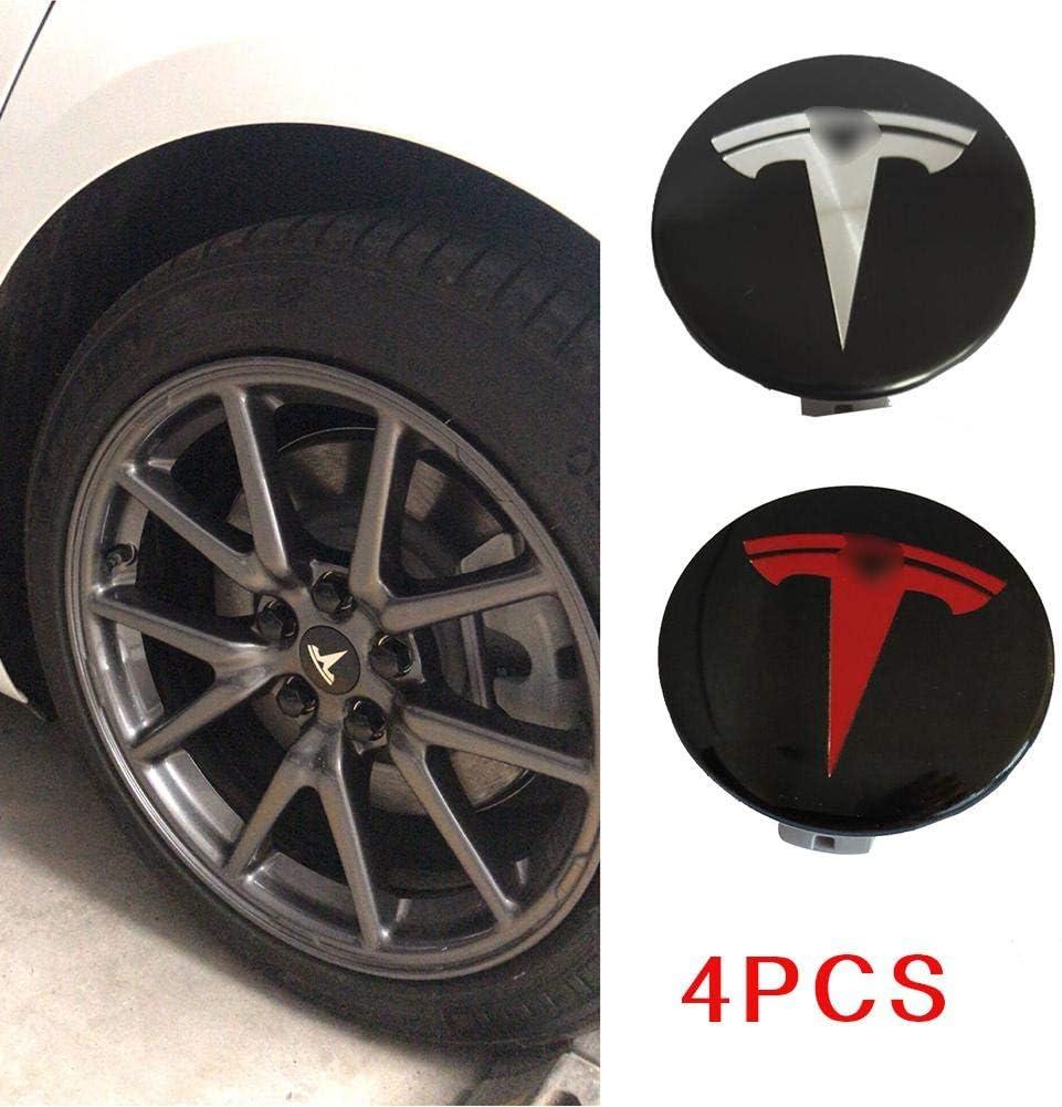 Alliage Jantes De Centre De Moyeu Noir Couvrent Le Badge pour Tesla Model S X 3 TARTIERY 4pcs Noir Couvrent des Couvercles De Moyeu De Centre De Roue De Voiture Ensemble Aucun Logo Universel 58mm