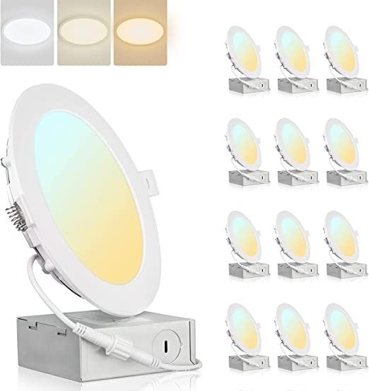 Colorsmoon 12 Pack 6 Inch 3CCT Ultra-Thin LED Recessed Ceiling Light with Junction Box, 3000K-5000K Selectable, Damp-Rated, 1020LM High Brightness Per Light, 12W Eqv 110W Canless Downlight(White)