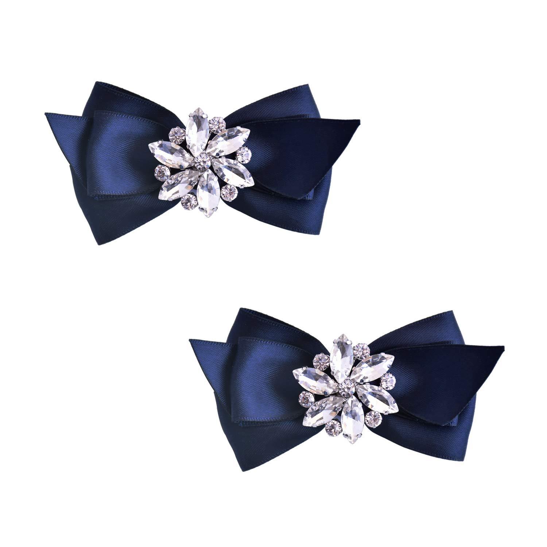 ElegantPark CQ 2 Pcs Shoe Clips Satin Bow Crystal Design Wedding Party Accessories Decoration Navy Blue