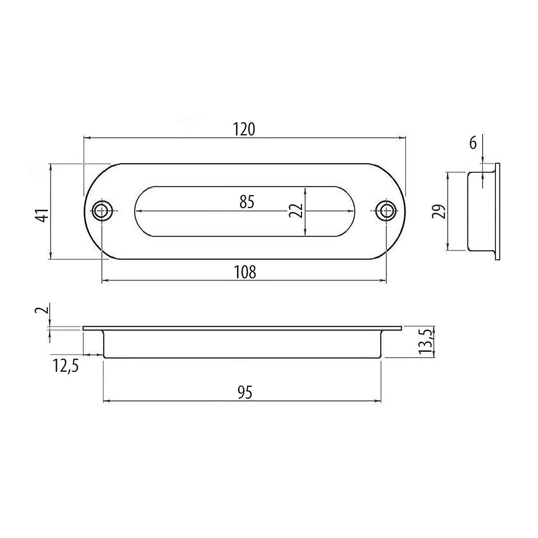 Poign/ée /à Encastrer EL-08 Entraxe 108 mm Acier Inox bross/é Poign/ée pour Portes Coulissantes Poign/ée Coquille Poign/ée Cuvette SO-TECH/®
