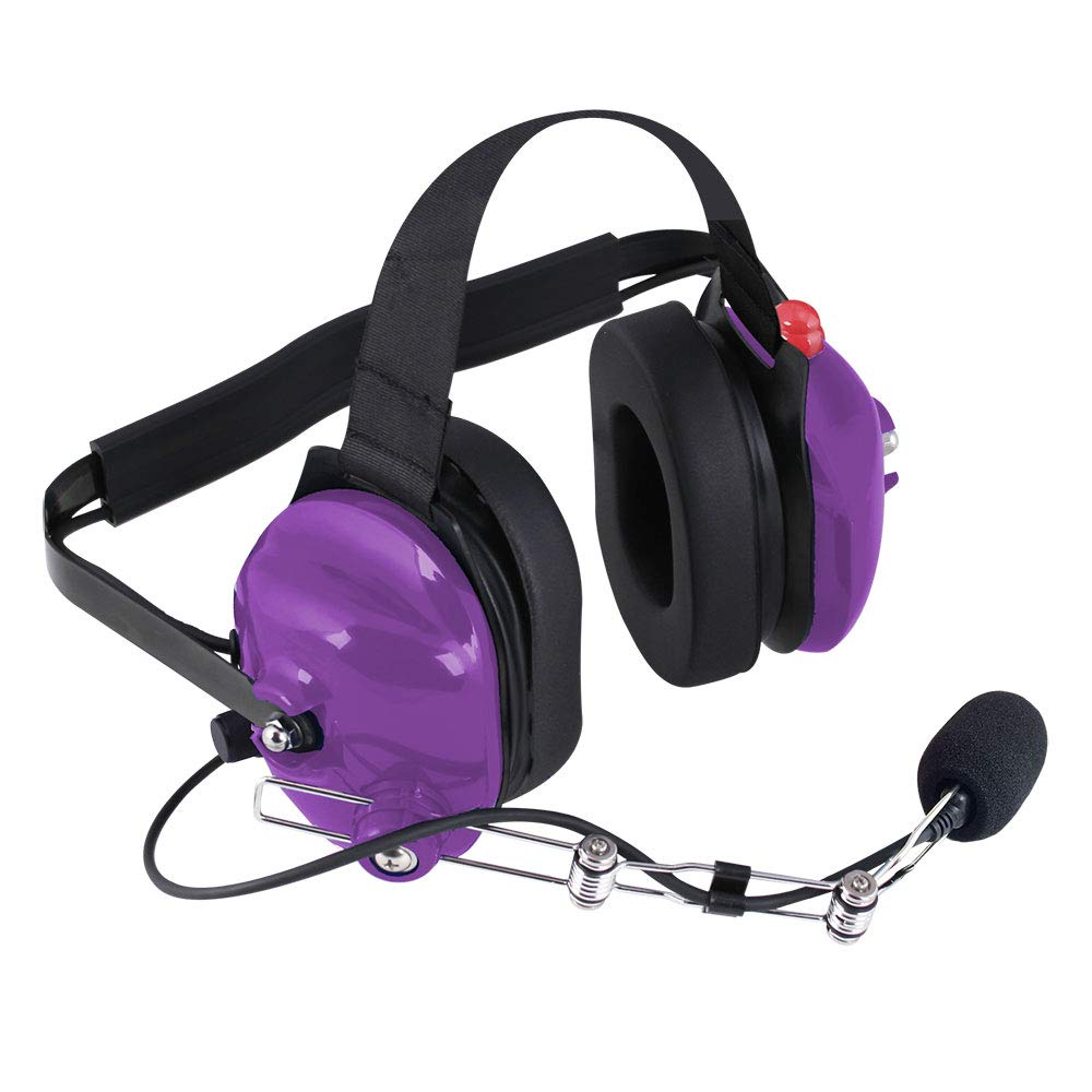 Rugged Radios H42-PURPLE Purple Behind The Head Two-Way Radio Headset with Dynamic Noise Cancelling Microphone, Push to Talk, and 3.5mm Input Jack for Music & MP3 Players