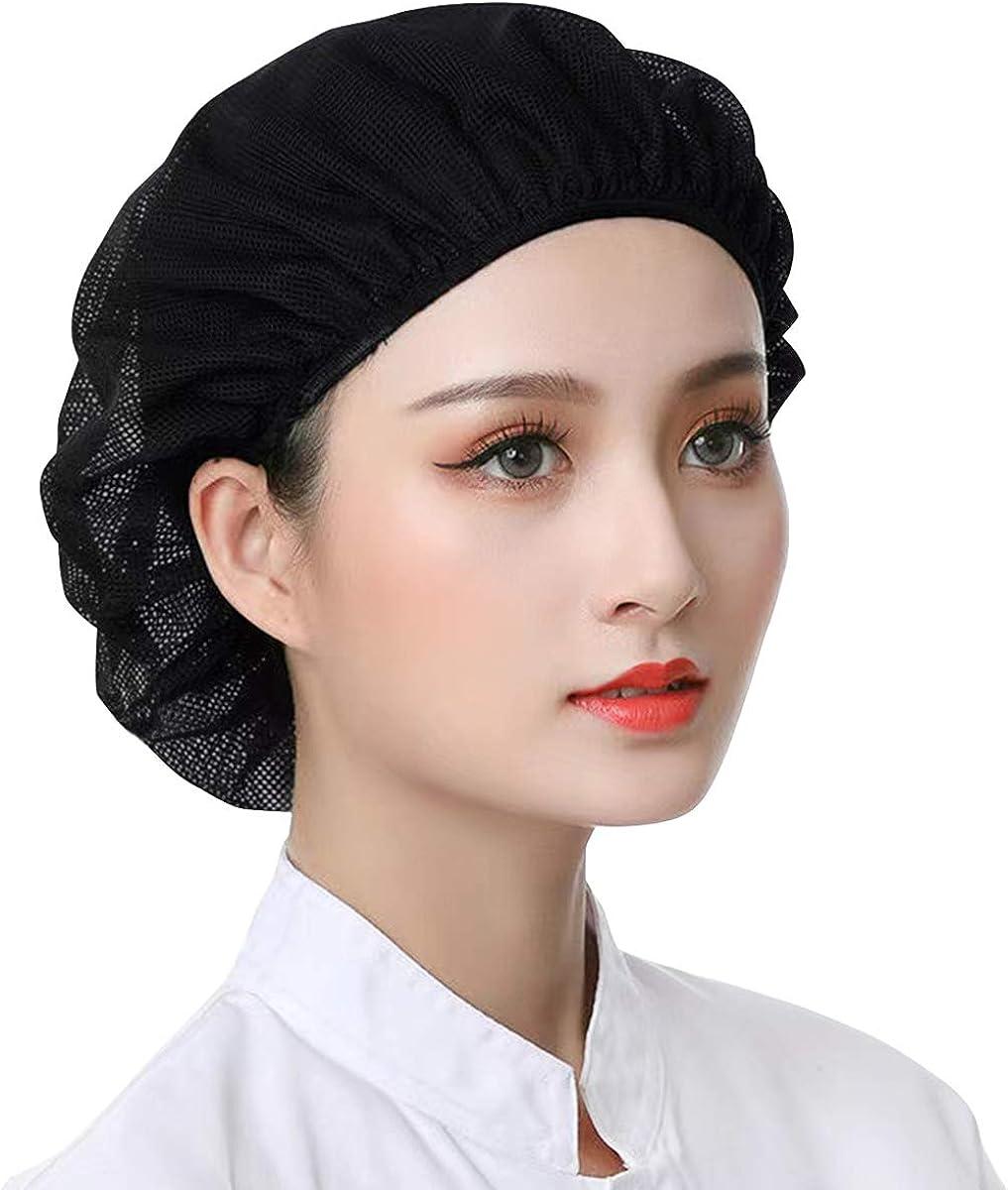 6pcs Unisex Elastic Chef Hat Kitchen Cooking Hat Food Service Hair Nets Adjustable Mesh Cap