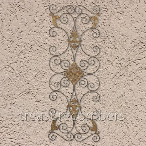 Extra Large IRON SCROLL Wall Plaque Grille Overdoor Metal