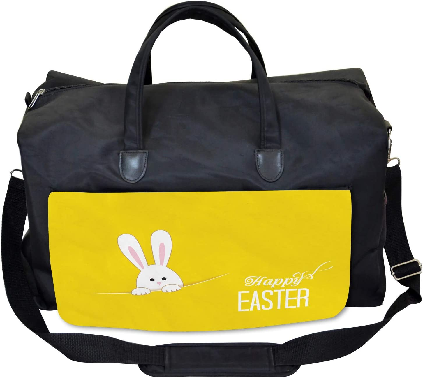 Ambesonne Yellow Gym Bag Easter Rabbit Bunny Large Weekender Carry-on