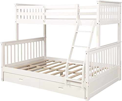 MERITLINE Bunk Bed, Wood Twin Over Full Bunk Bed Frame with Storage Drawers, White