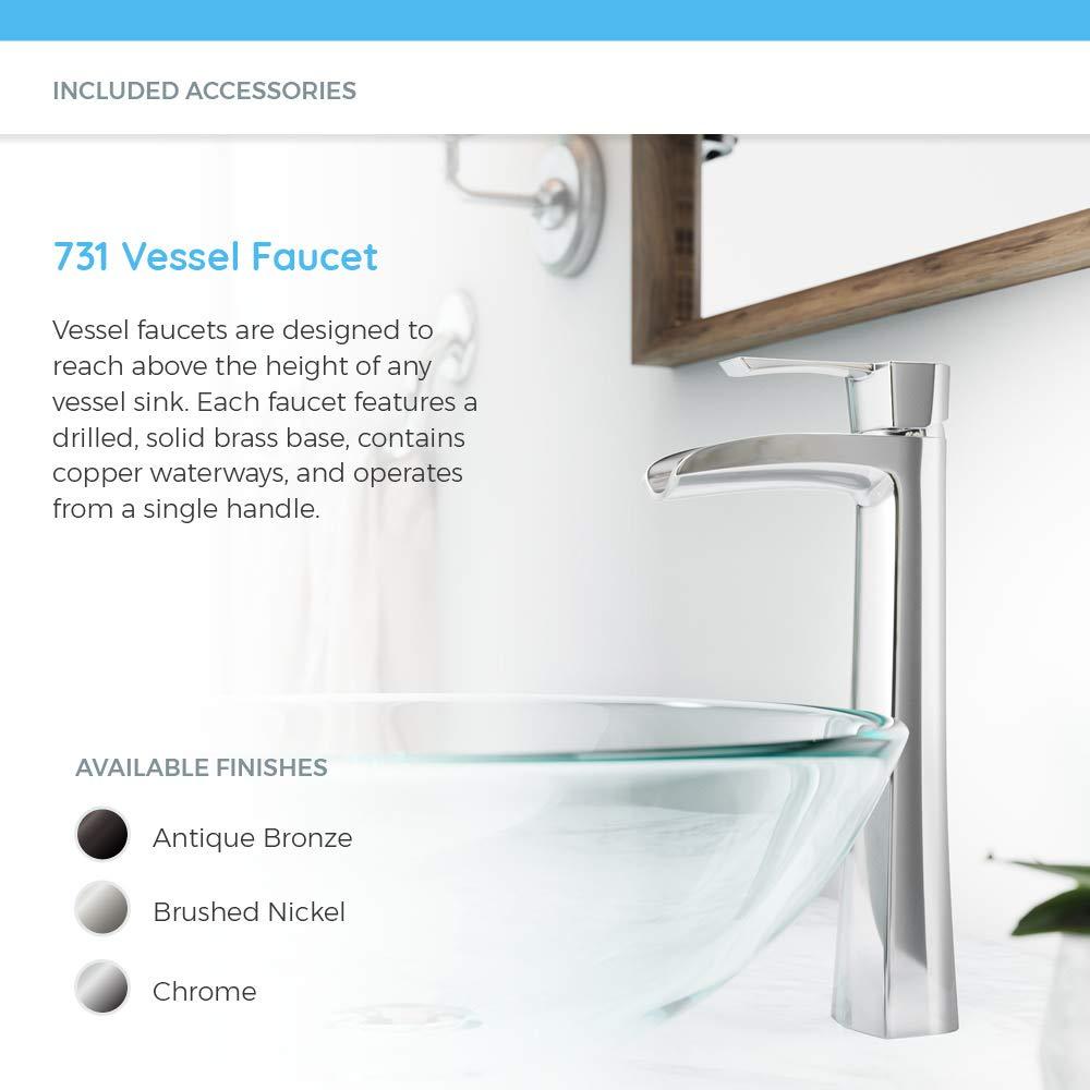 Bundle - 4 Items: Vessel Sink, Vessel Faucet, Pop-Up Drain, and Sink Ring 612 Chrome Bathroom 731 Vessel Faucet Ensemble