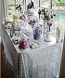 "BalsaCircle 60x102"" Sequin RECTANGULAR Tablecloth - Silver (Kitchen)"