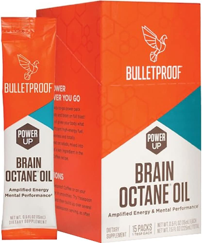 Bulletproof Brain Octane Oil Go Packs, Travel Friendly Packets, Keto Diet Friendly Source of C8 Energy, More Than Just MCT (15 Count)