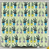 Cactus Potted Plants WaterProof Bathroom Shower Curtain 60x72inch