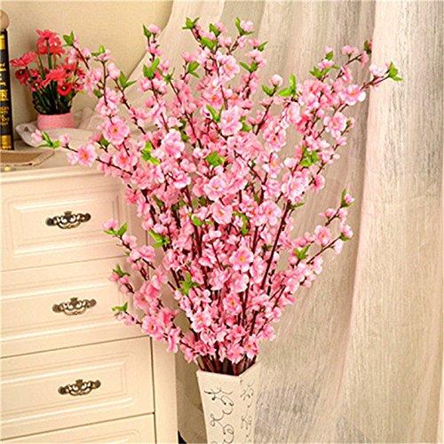 Toyfun 5 Pcs Artificial Peach Blossom Simulation Flowers Cherry Plum Bouquet Branch Fake Silk Flowers Tree Arrangements for Home Wedding Floral Decoration (Pink)