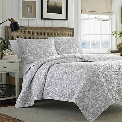 MISC 2pc Soft Grey White Classic Twin Quilt Set, Cotton, Paisley Floral Themed Bedding Casual Traditional Vintage Antique Flowers Vintage Cottage Chic Summer by MISC