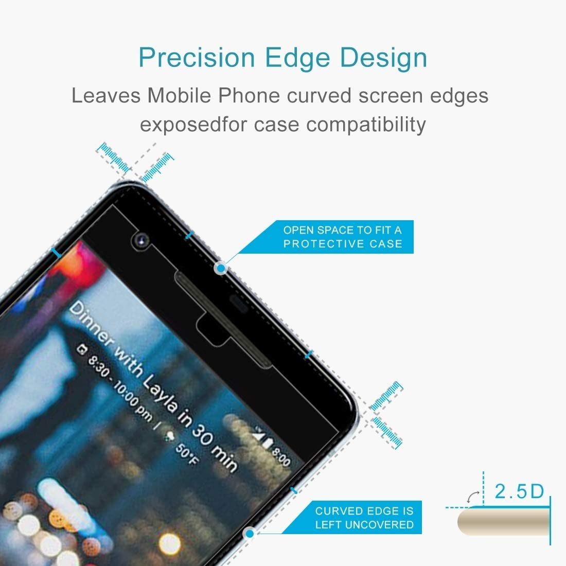 Glass Screen Protector 100 PCS for Google Pixel 2 0.26mm 9H Surface Hardness 2.5D Explosion-Proof Tempered Glass Screen Film