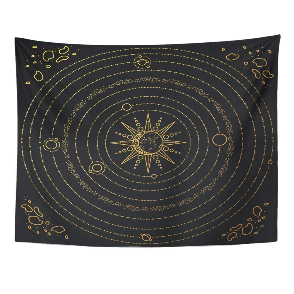 Emvency Tapestry Mandala 60x80 Inches Astrology Solar System Model Space with Sun Planets Stars Asteroids Black and Gold Decor Wall Hanging for Living Room Bedroom Dorm