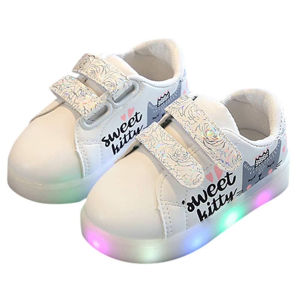 GongzhuMM Sneakers Enfants Filles Chaussures de Sport Bébé Filles Chat Imprimé LED Lumineux Décontracté Chaussures 20-29 EU 12 Mois-6 Ans