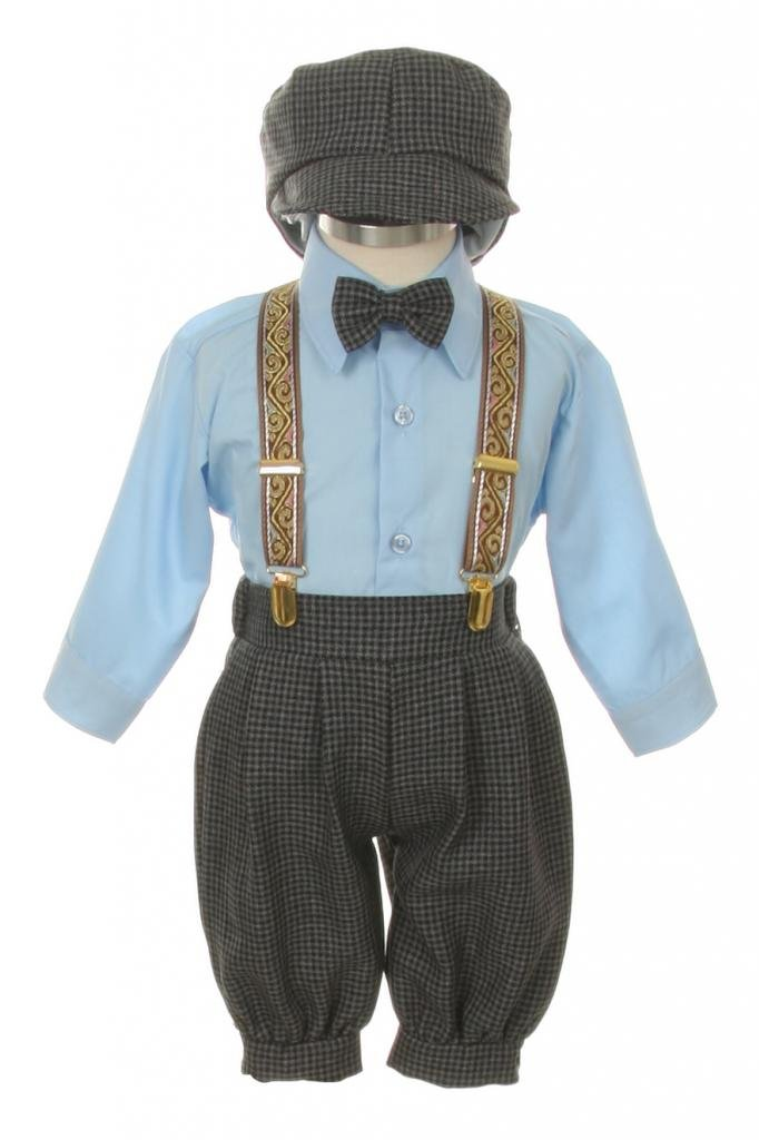 Vintage Dress Suit-Bowtie,Suspenders,Knickers Outfit Set for Boys-Toddler, Houndstooth-Blue-4T by SK