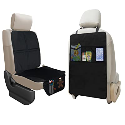lebogner Car Seat Protector + Kick Mat Auto Seat Back Protector with 3 Organizer Pockets, Durable Quality Seat Covers + Waterproof Kick Guards to Protect Your Leather and Upholstery Seats from Damage: Automotive