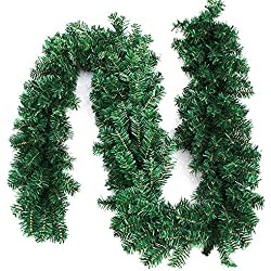 Interlink-UK 9ft Christmas Green Garland Xmas Pine Garland Wreaths (Green Garland, 1 Pack)