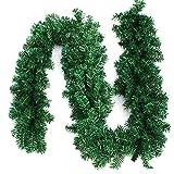 Interlink-UK 9ft Christmas Green Garland Xmas Pine Garland Wreaths (Green Garland, 2 Pack)