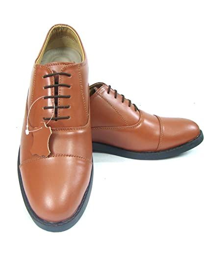 21586d8c50 ASM Police Tan Oxford Dress Leather Uniform Shoes with TPR (Thermo Plastic  Rubber) Sole