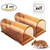 The Amazing Smart Mouse Trap w/Starter Bait - Humane Live Cage Catches Rats, Mice, Hamsters, and Other Small Rodents (Set of 2)