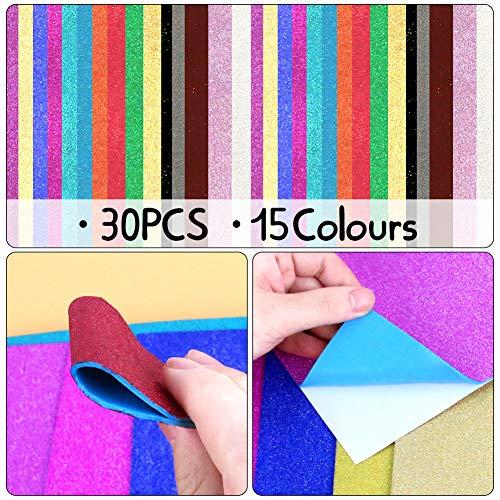 3 otters Glitter Foam Sheet, 30PCS Adhesive Foam Sheets Glitter Foam Paper Craft Foam Sheet 11.8 x 7.8 inches, 15 Colors