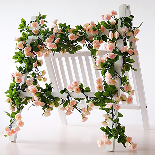 Garland Fresh (Li Hua Cat Rose Garland Artificial Rose Vine with Green Leaves 63 Inch Pack of 3 Flower Garland For Home Wedding Decoration (pink))