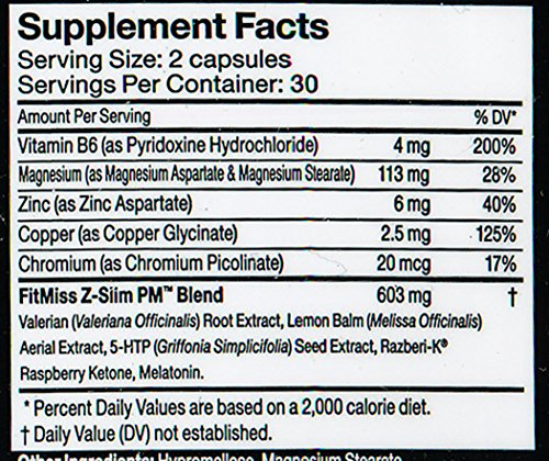 Fitmiss Z Slim PM Weight Loss Supplement, 60 Count
