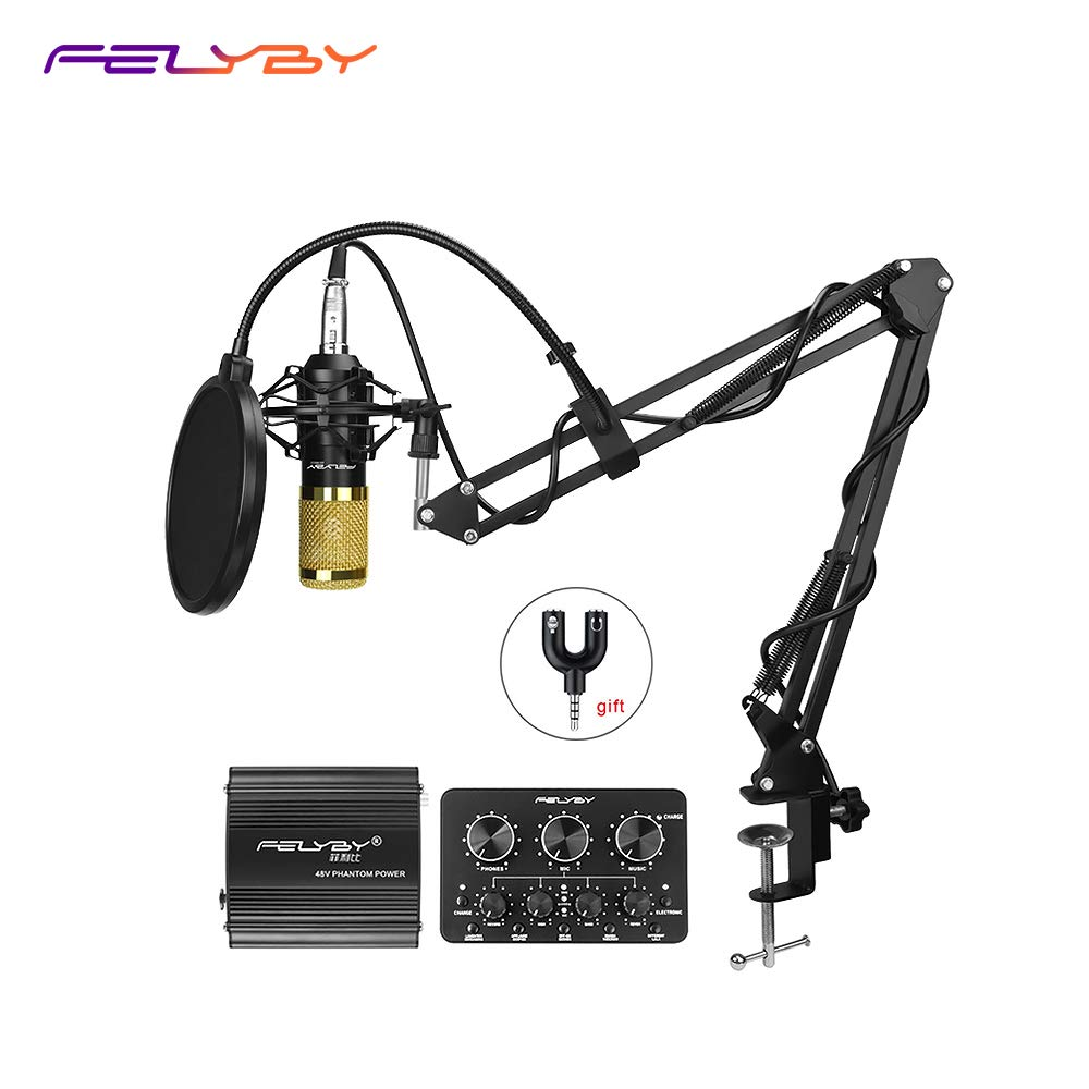 Pro Condenser Microphone XLR to 3.5mm Podcasting Studio Recording Condenser Microphone Kit Computer Mics with 48V Phantom Power Supply (Black)