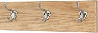 """product image for Oak Wall Mounted Coat Rack with Satin Nickel Hooks Ultra Wide (Natural, 15"""" x 4.5"""" with 3 Hooks)"""