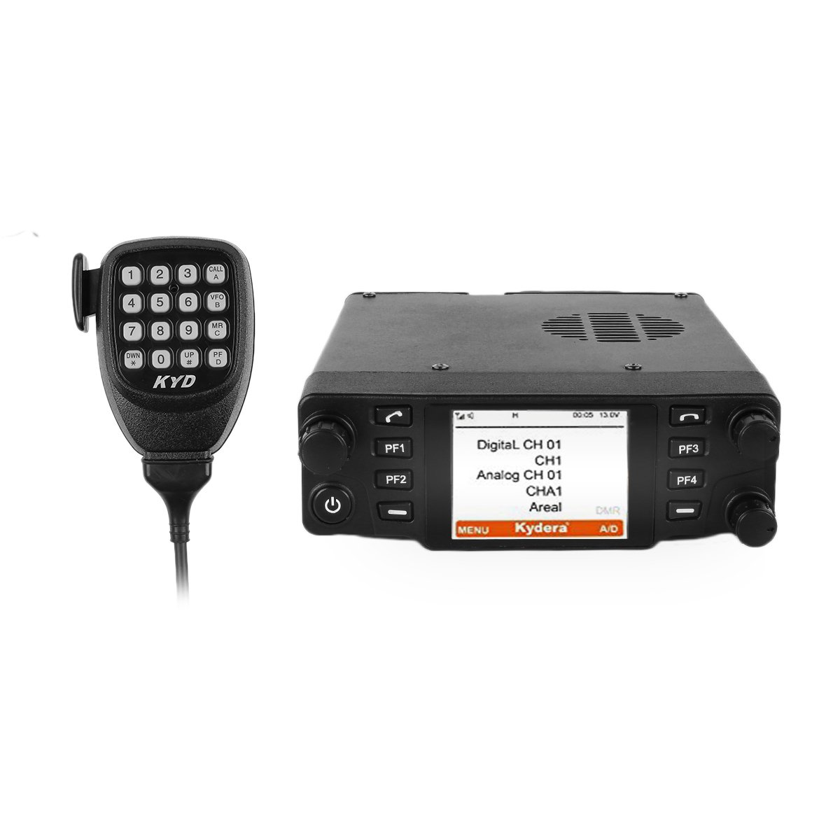 Kydera CDM-550H DMR 400-430 440-480Mhz UHF Large LCF Display 40W 25KM Digital Car Radio Ham Transceiver, with Programming Cable & Software by KYDERA (Image #2)