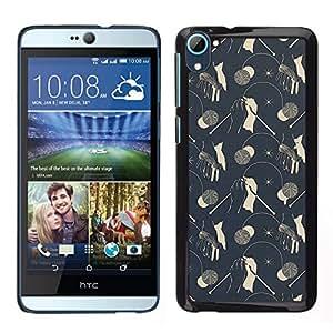 EJOY---Cubierta de la caja de protección para la piel dura ** HTC Desire D826 ** --Modelo del papel pintado de la vendimia Setas grises