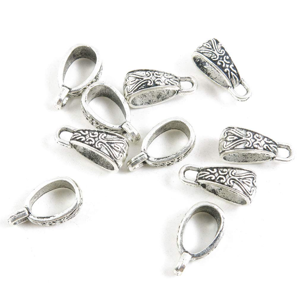 1540 Pieces Antique Silver Tone Jewelry Making Charms Crafting Beading Craft Q2NF8 Oval Bails Cord Ends